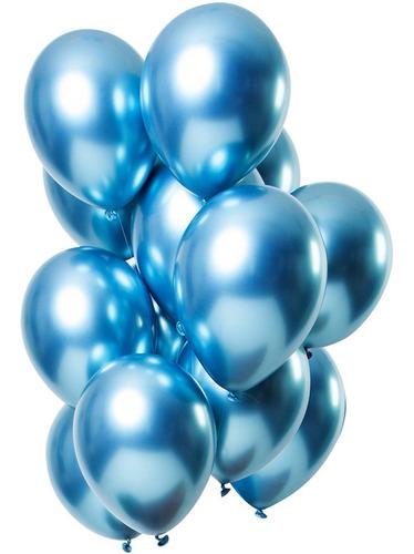 25 Unid Balão Azul Platino Cromado Pic Pic