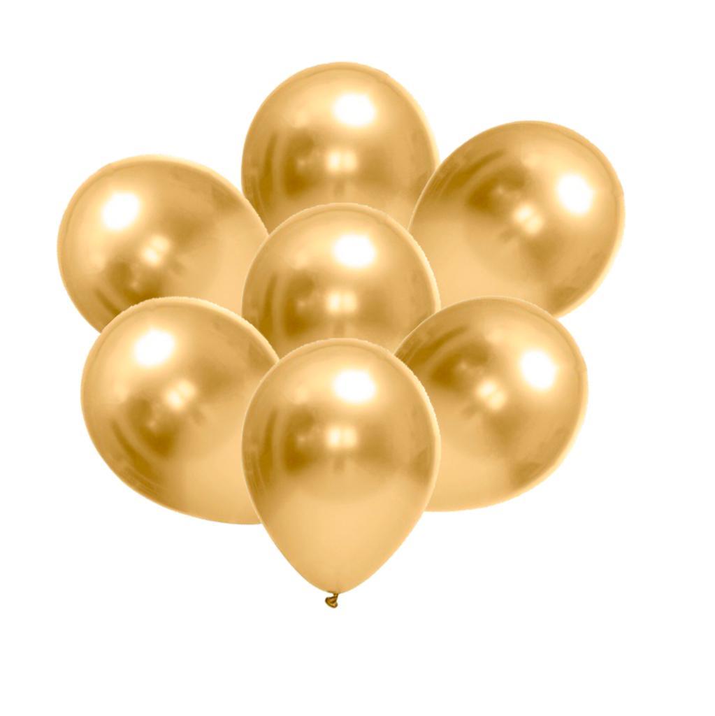 25 Unid - Balão Bexiga Cromado Metalizado Alumínio Dourado 9 Polegadas