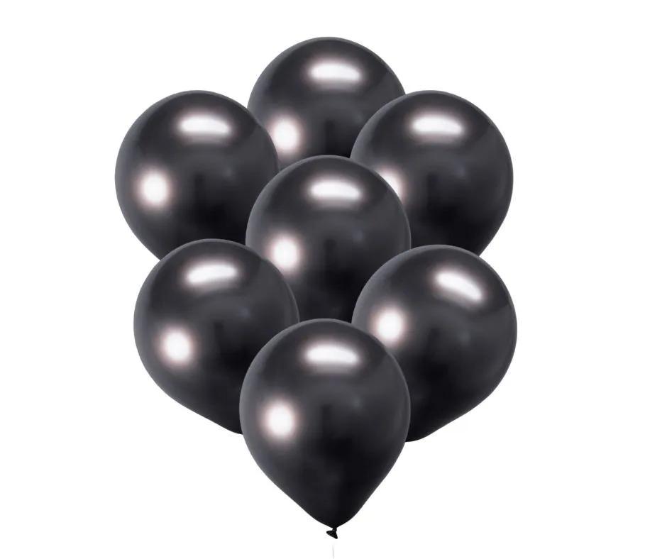 25 Unid Balão Bexiga Cromado Metalizado Preto 9 Polegadas