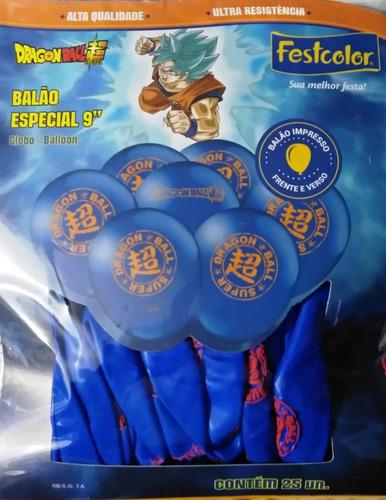 25 Unid - Balão Bexiga Festa Dragon Ball Tamanho 9 Pol
