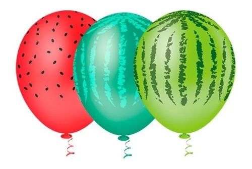 25 Unid - Balão Bexiga Melancia  Sortido 9 Polegadas