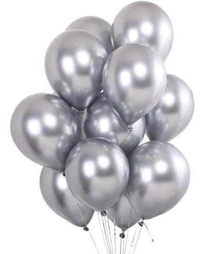 25 Unid Balão Prata Platino Cromado Pic Pic