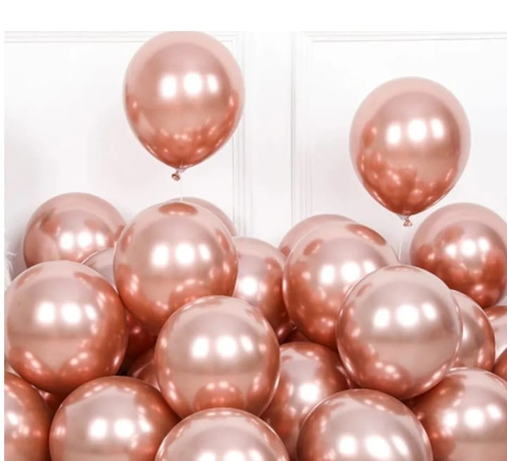 25 Unid Balão Rose Gold Platino Cromado Pic Pic