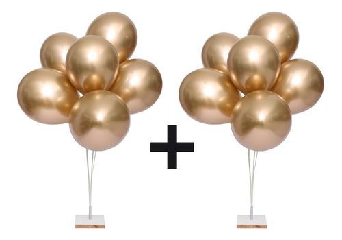 2  KIT Suporte Balão Bexiga 12 Hastes Vareta 30 Cms