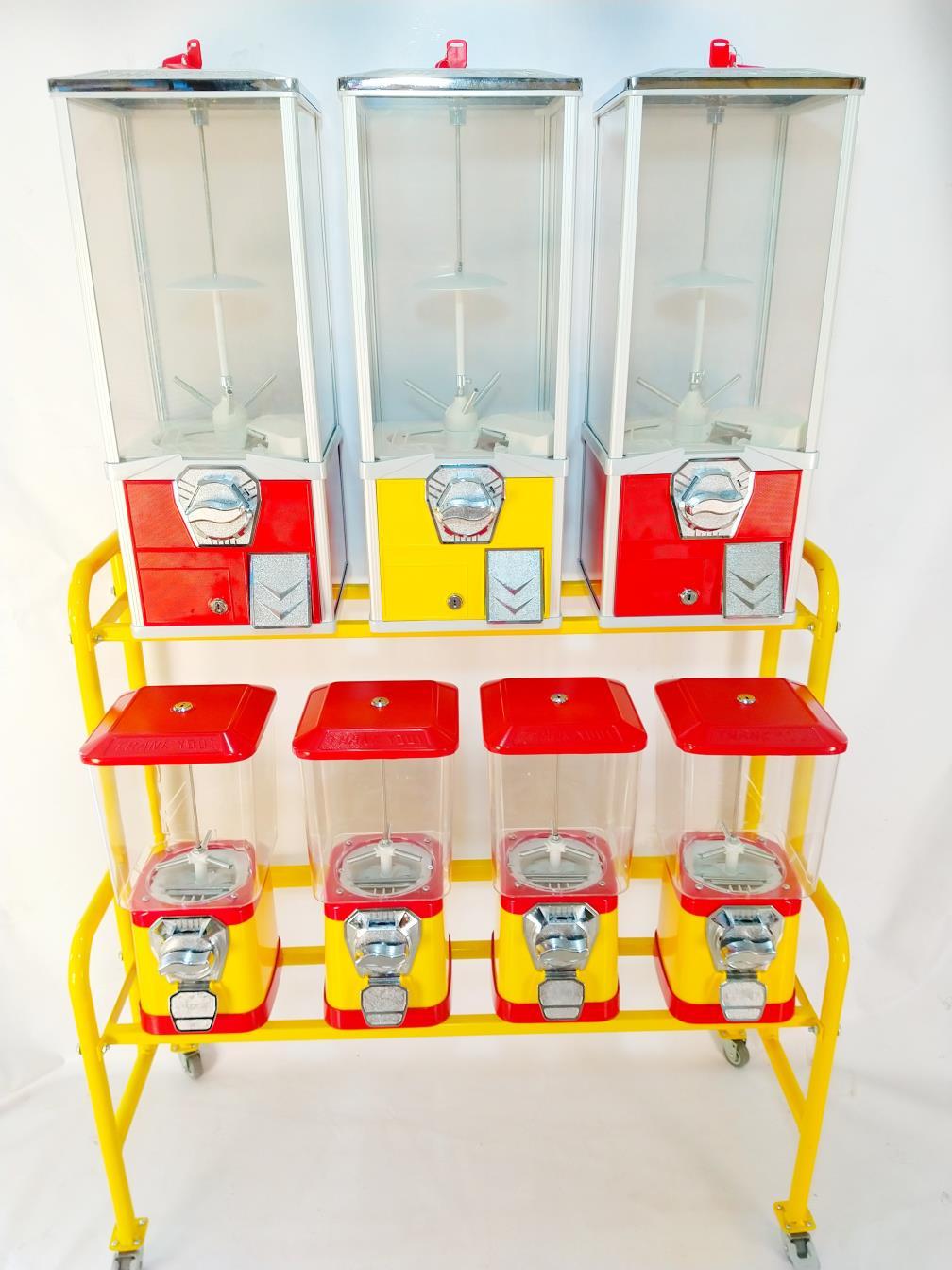 Kit Completo 7 Maquinas de Bolinha + Rack + Produtos para Abastecer