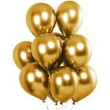 50 Balão Bexiga 8 Pol (Azul Tiffany + Rosa Baby + Lilás) + 25 Balão Dourado 5 Pol Cromado Metalizado