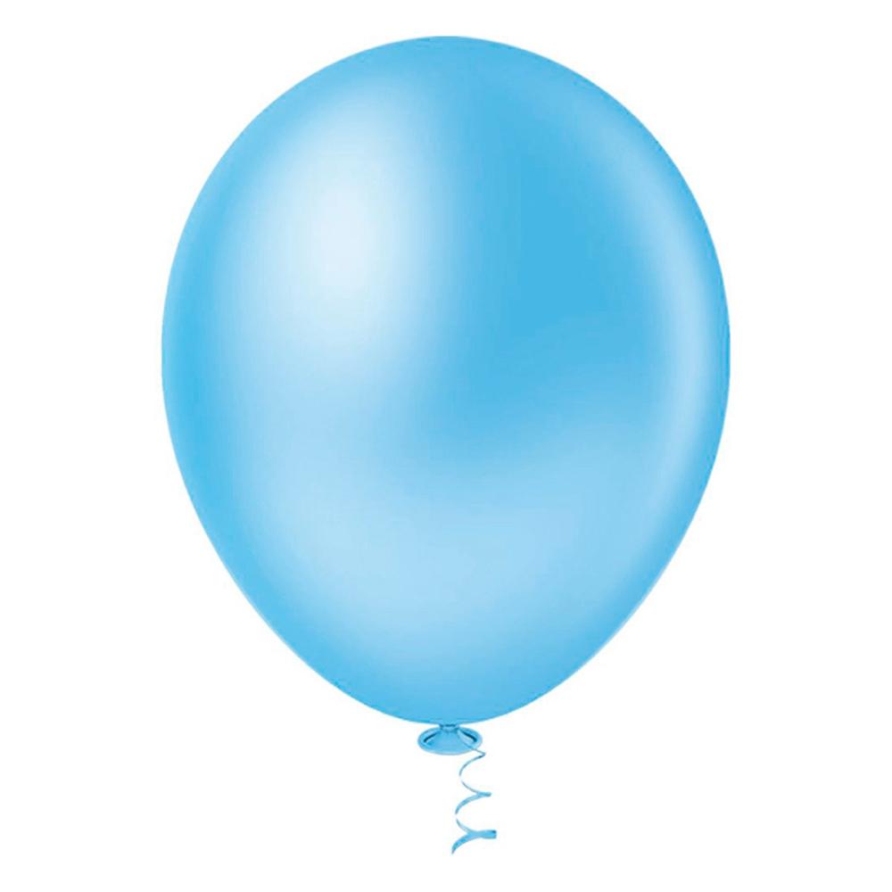 50 Unid Balão Bexiga Látex Azul Claro Tamanho 6,5