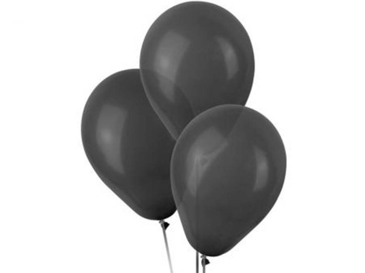 50 Unid Balão Bexiga Látex Preto Tamanho 7