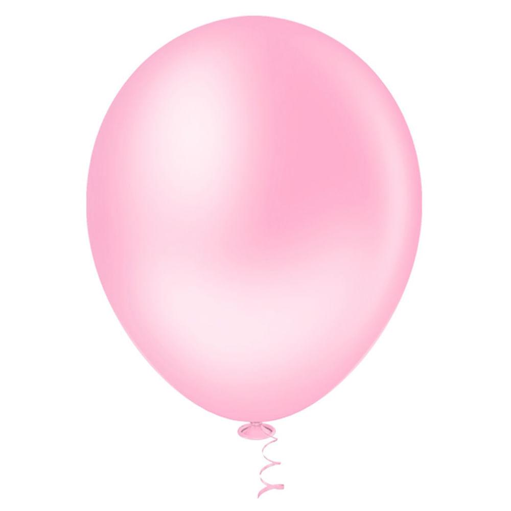 50 Unid Balão Bexiga Látex Rosa Tamanho 6,5