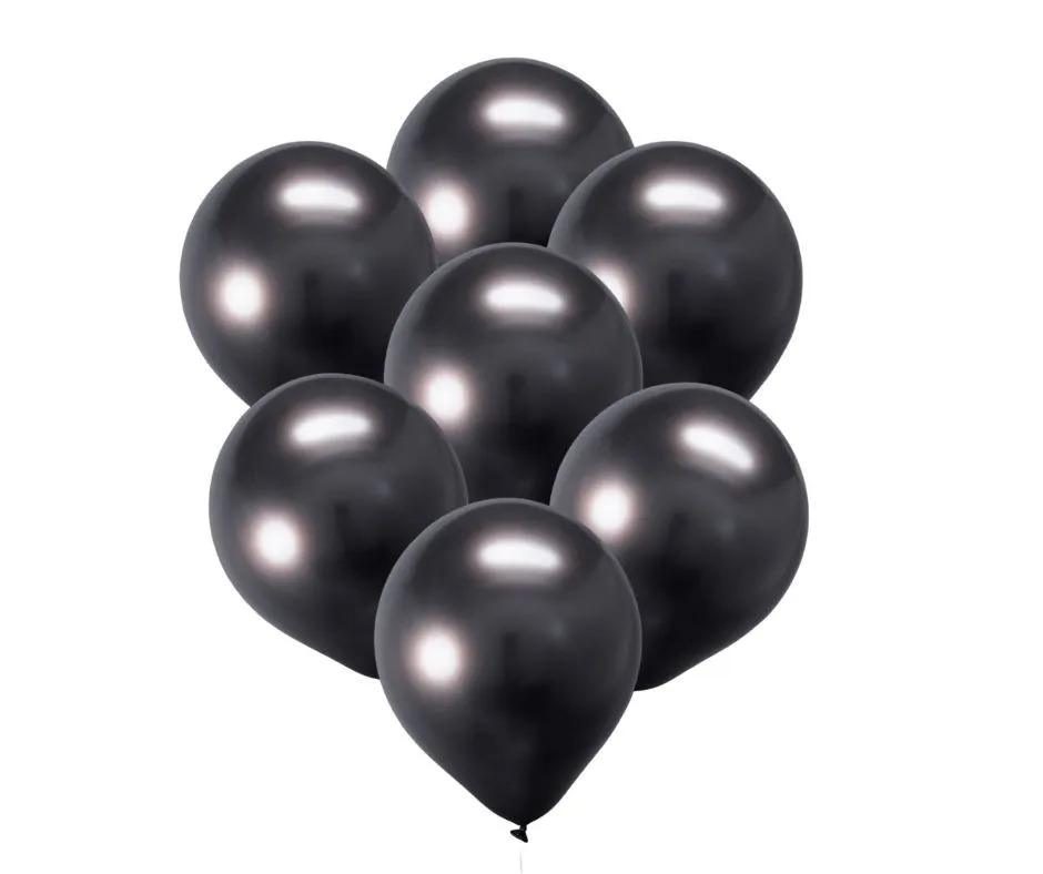 5 Balão Bexiga  Preto 5 Polegadas Latex Cromado Metalizado