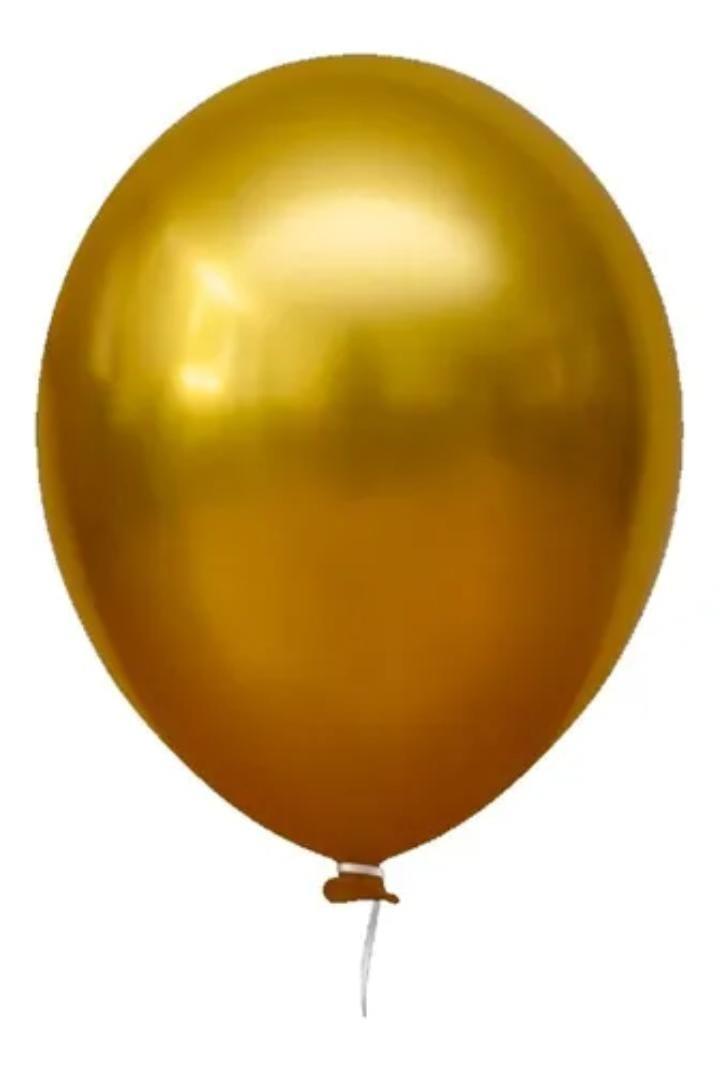 5 Unid Balão Bexiga Amarelo Mostarda  9 Pol Cromado Metalizado