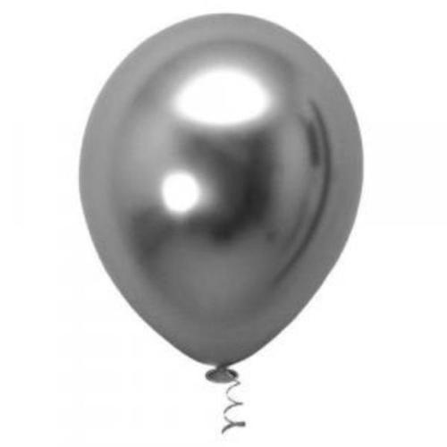 5 Unid Balão Bexiga Chumbo 9 Pol Cromado Metalizado Cinza