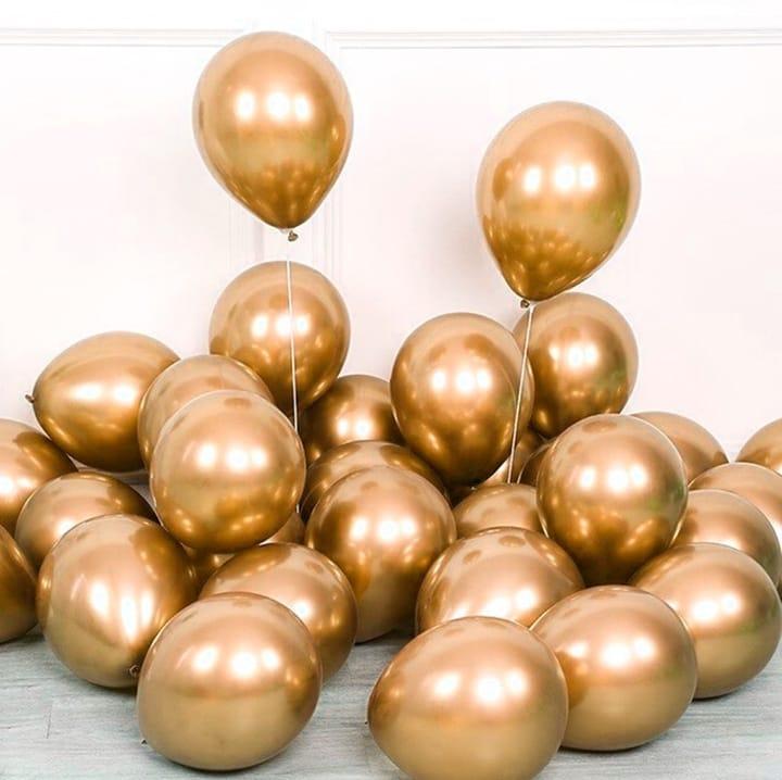 5 Unid Balão Bexiga Dourado 9 Pol Cromado Metalizado