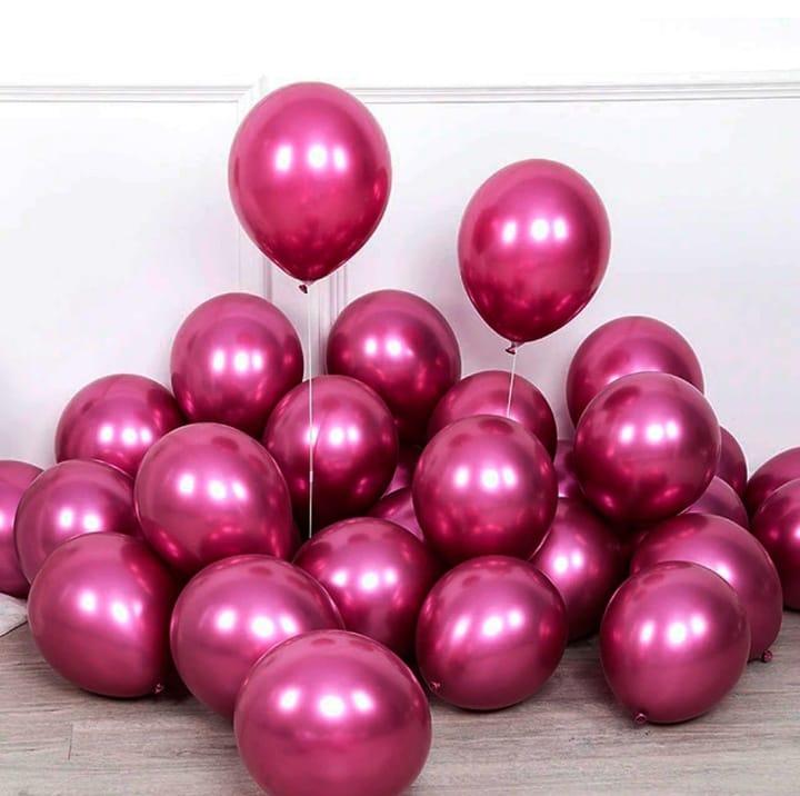 5 Unid Balão Bexiga Pink 9 Pol Cromado Metalizado