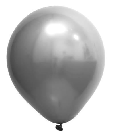 5 Unid Balão Bexiga Prata 9 Pol Cromado Metalizado