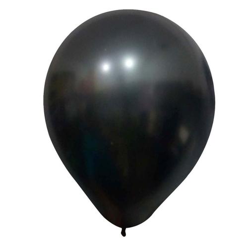 5 Unid Balão Bexiga Preto  9 Pol Cromado Metalizado