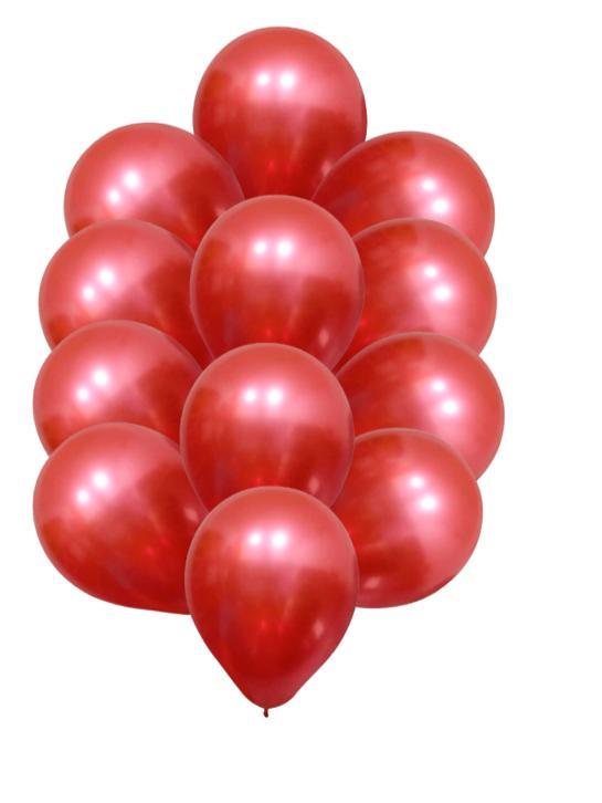 5 Unid Balão Bexiga Vermelho  9 Pol Cromado Metalizado