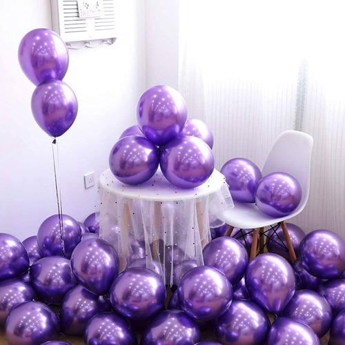 5 Unid Balão Bexiga Violeta  9 Pol Cromado Metalizado
