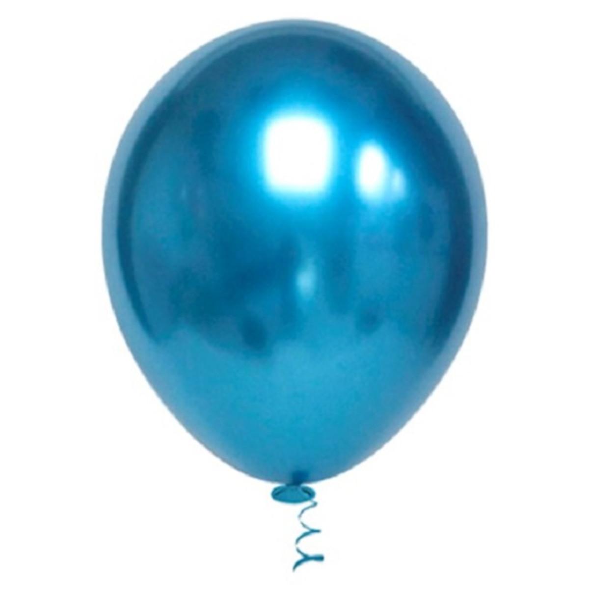 Balão Bexiga 9 Pol Cromado Metalizado 25 Prata + 25 Azul