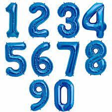 Balão Bexiga Azul 18 Pol Números Numero Metalizado Casamento/Aniversário/Festa