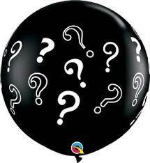 Balão Bexiga Chá Revelação 25 Pol Preto GIGANTE Interrogação OFERTA.