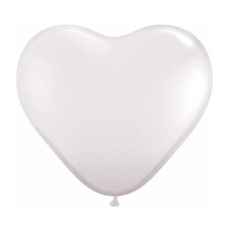 Balão Bexiga Coração Branco 6 Polegadas Decoração Festa