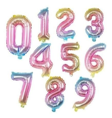 Balão Degrade Multicor 32 Pol Metalizado Numero 72 - 75 cms Grande OFERTA