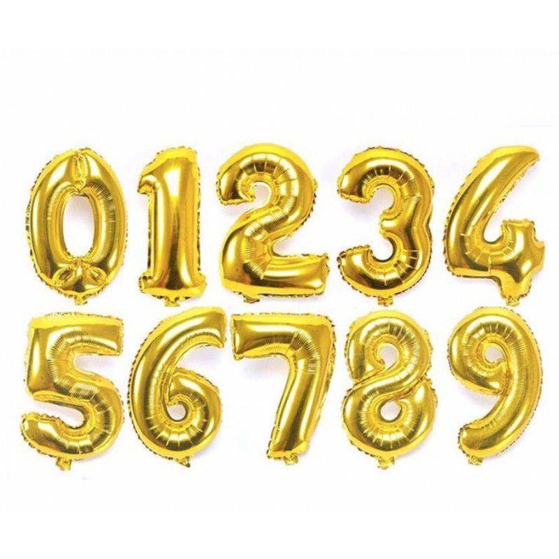 Balão Bexiga  18 Pol Dourado Número  Metalizado Cromado