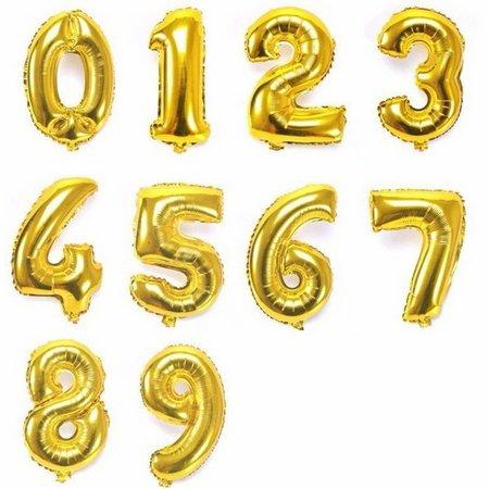Balão Bexiga Dourado Números Número 45 cm Metalizado