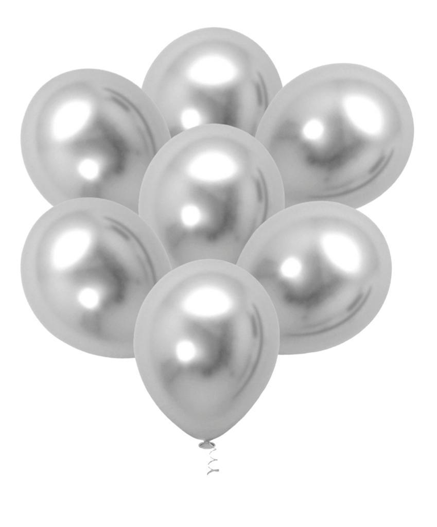 25 Balão Bexiga Latex Cromado Metalizado Prata 5 Polegadas