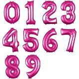 Balão Bexiga Pink 18 Pol Números Numero Metalizado Casamento/Aniversário/Festa