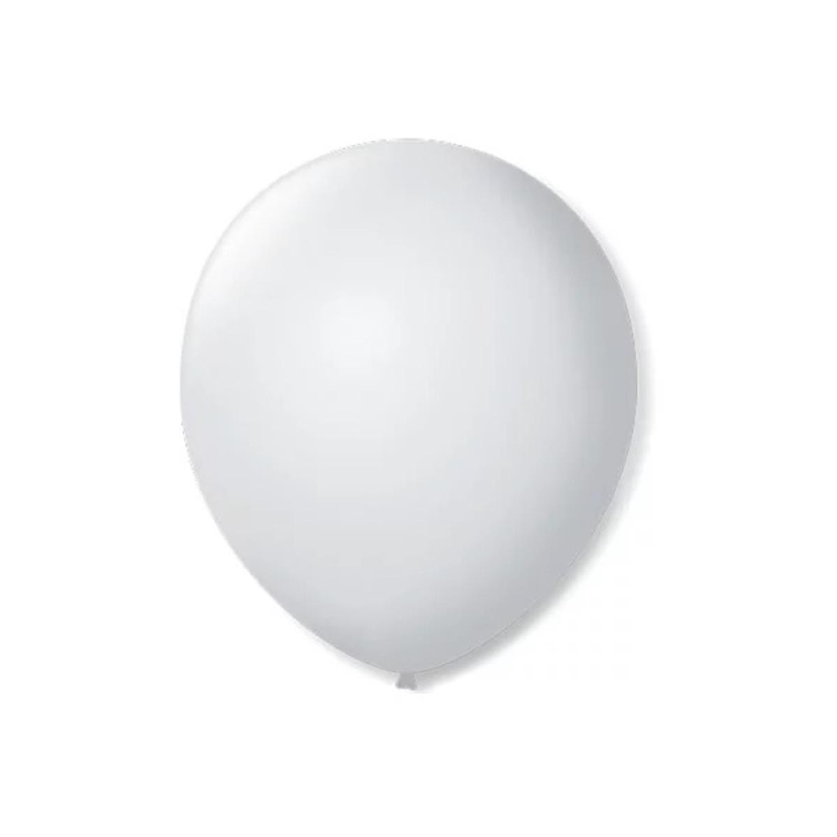 50 Unid Balão Bexiga Látex Branco Tamanho 7