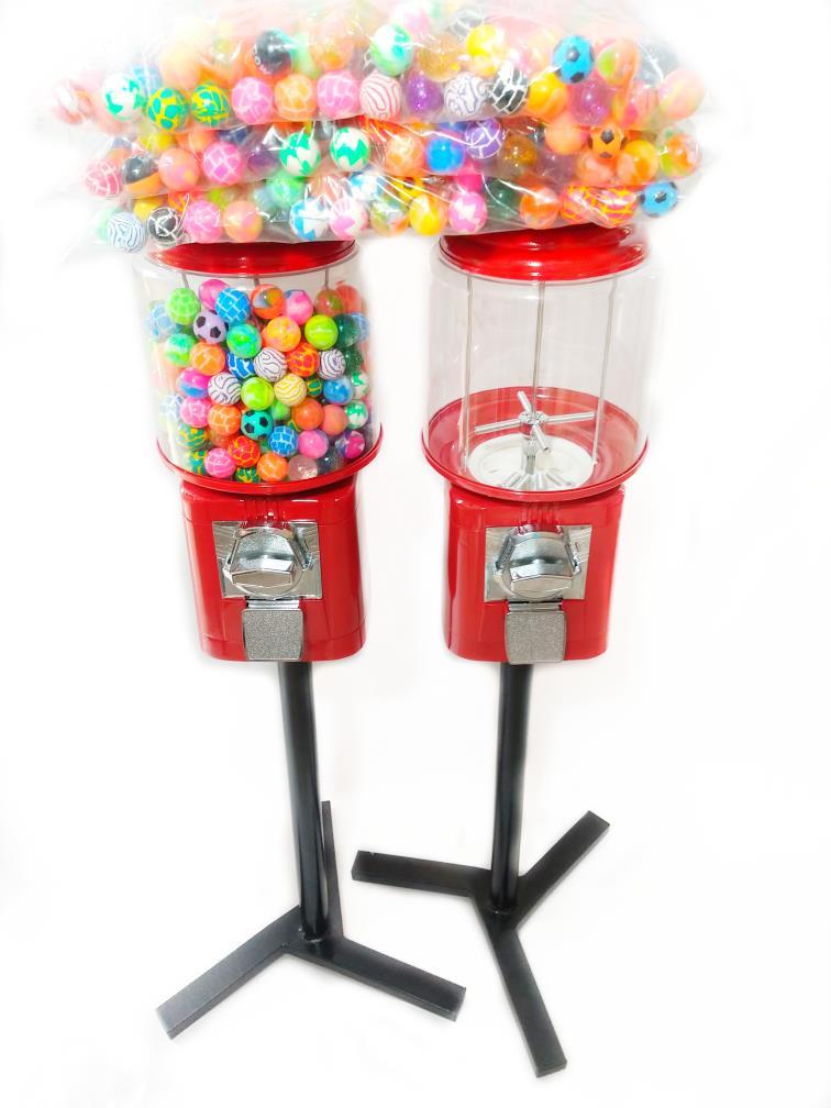 Kit 2 Maquina de Bolinha + 2 Pedestal + Bolinha Pula Pula 27mm Vending Machine