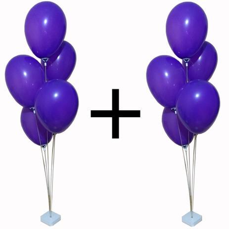 KIT 2 Suporte Balão Bexiga 12 Hastes Vereta 70 Cms
