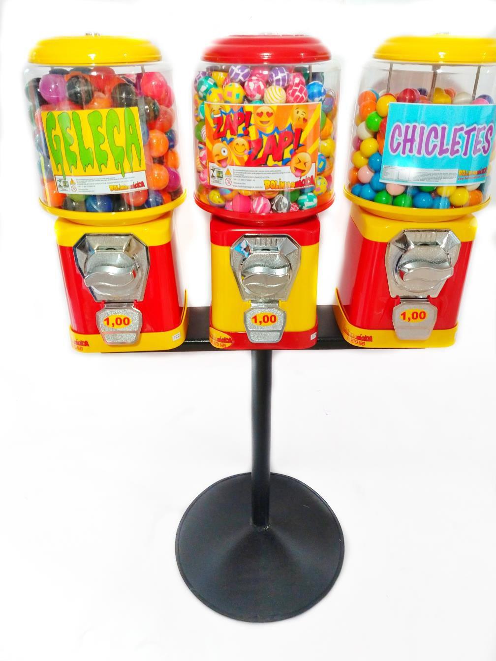 Kit 3 Maquina de Bolinha + Pedestal + Bolinha 27mm + Chicletes + Capsulas Brinde