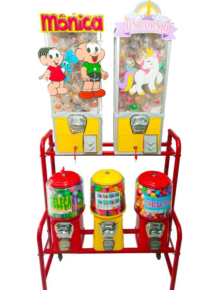 Kit Completo 5 Maquinas de Bolinha Pula Pula + Produtos Vending Machine