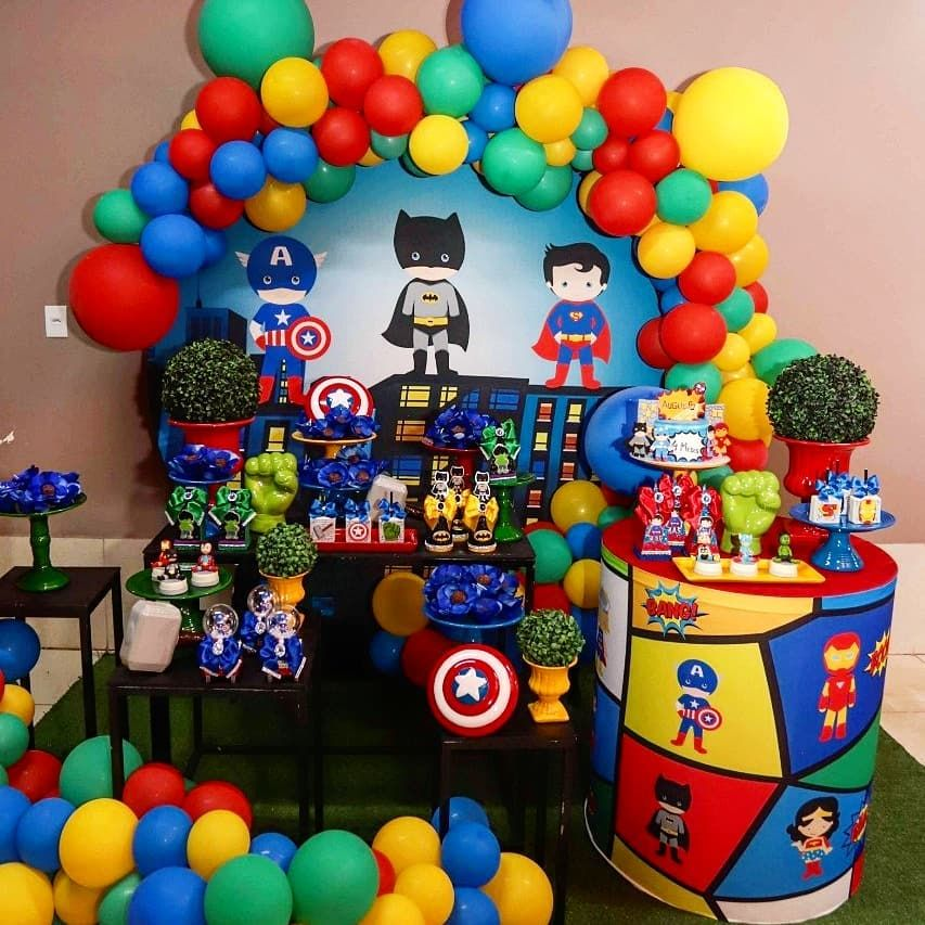 Kit de balões Herois Vingadores - 50 Balão Bexiga  Vermelho 9 Pol + Verde 8 Pol + Amarelo 7 Pol + Azul Escuro 6,5