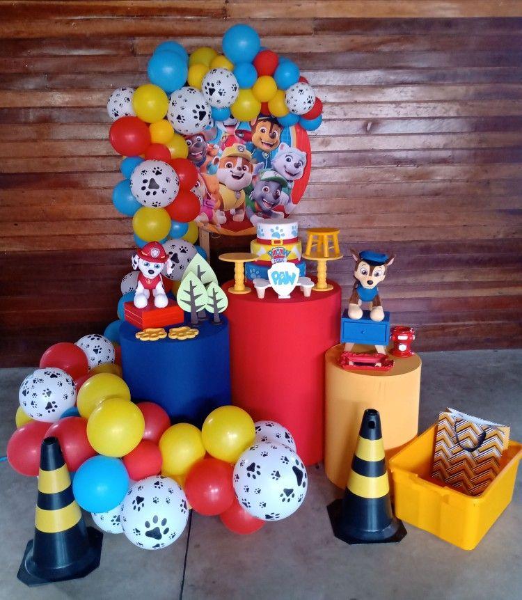 Kit de balões Patrulha Canina - 50 Balão Bexiga Azul Escuro 8 Pol + Vermelho 9 Pol + Amarelo 6,5 + 25 Balão 9 Pol Patinha de Cachorro