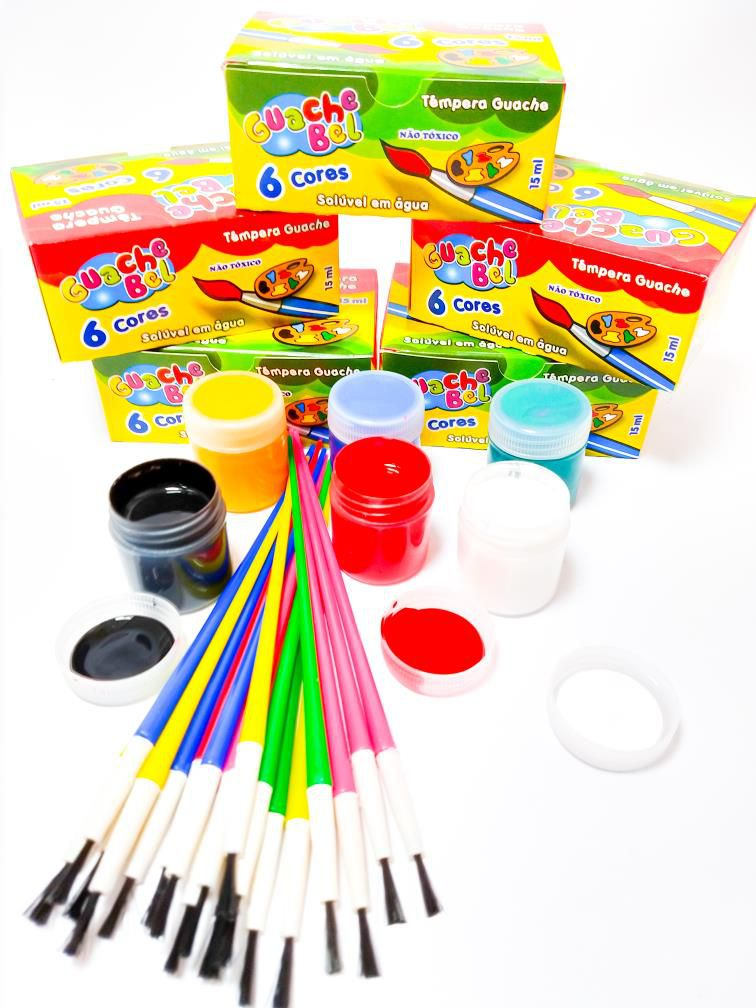 Tinta Guache  + Pincel Artístico para Pintura