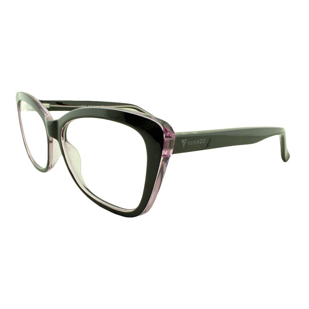 Armação para Óculos de Grau Feminino 323A Preta e Lilás Vianzo