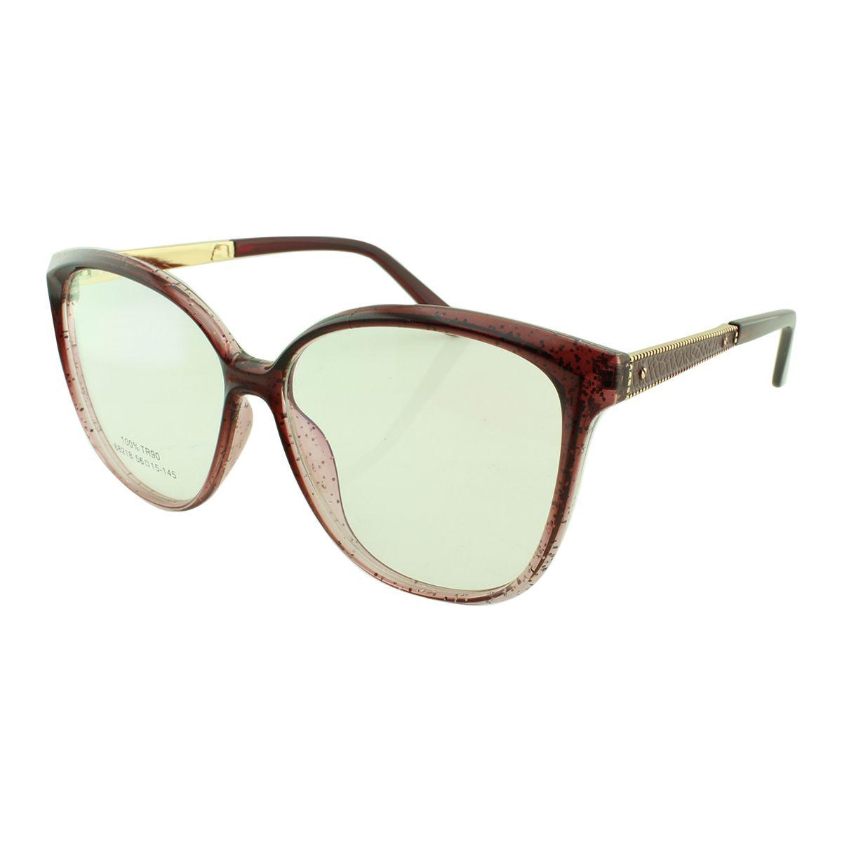 Armação para Óculos de Grau Feminino 68218 Vinho com Glitter