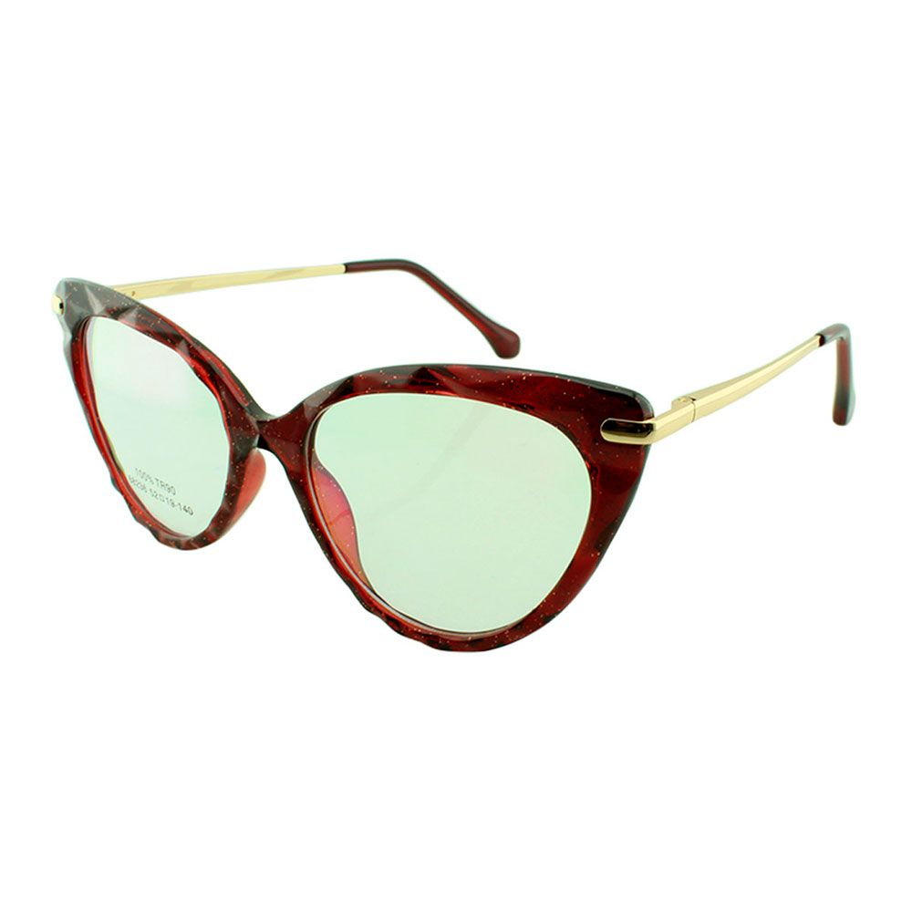 Armação para Óculos de Grau Feminino 68236 Vinho com Glitter
