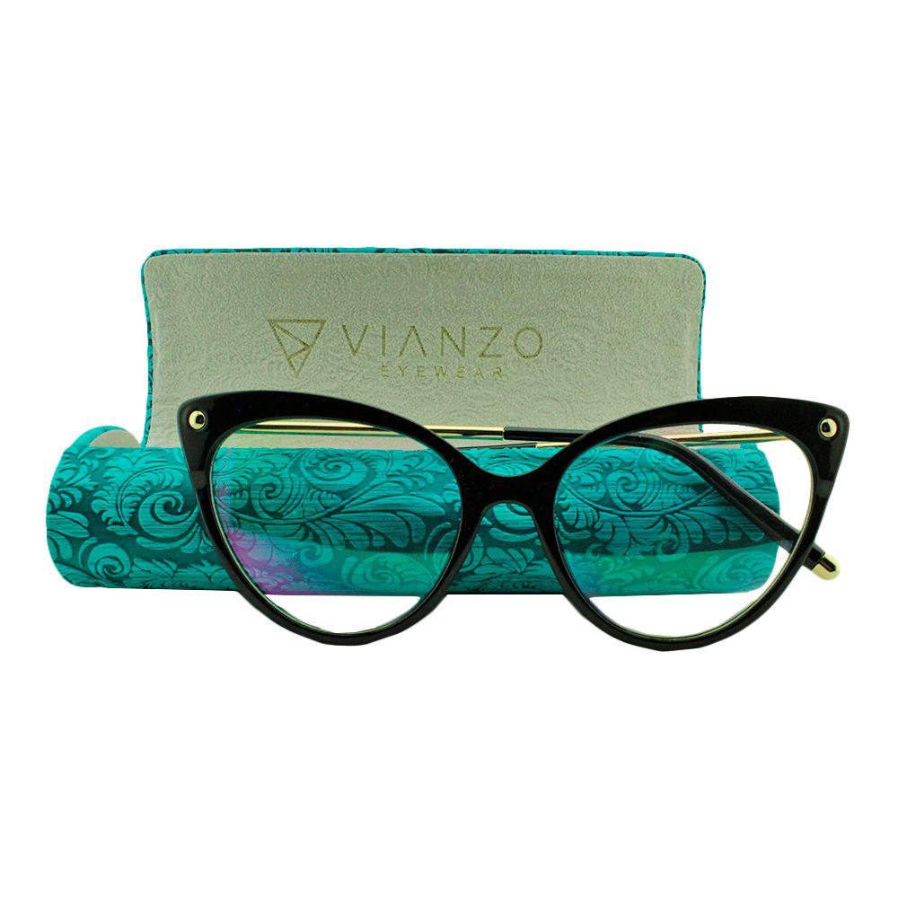 Armação para Óculos de Grau Feminino 9026 Preta com Estojo Vianzo