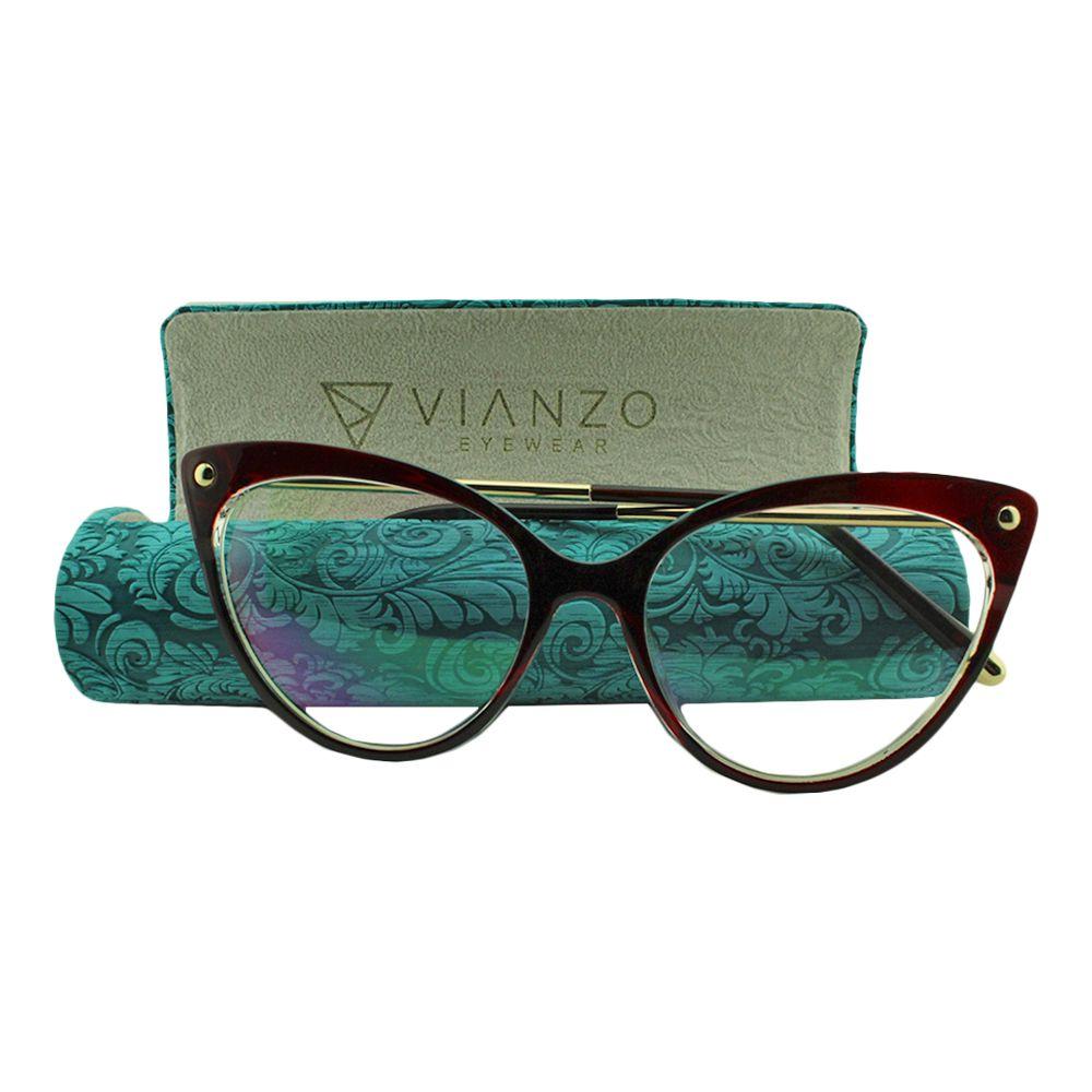 Armação para Óculos de Grau Feminino 9026 Vinho com Estojo Vianzo