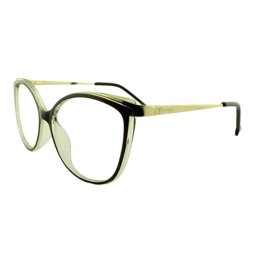 Armação para Óculos de Grau Feminino 9032 Marrom Vianzo