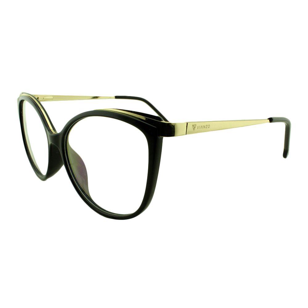 Armação para Óculos de Grau Feminino 9032 Preta Vianzo