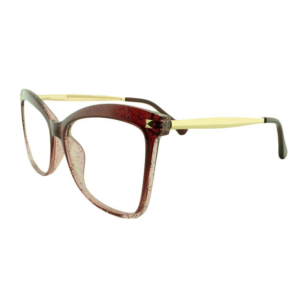 Armação para Óculos de Grau Feminino 9129 Vinho Degradê com Glitter