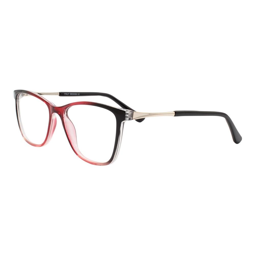 Armação para Óculos de Grau Feminino BR99066 Preta e Vermelha Gradiente