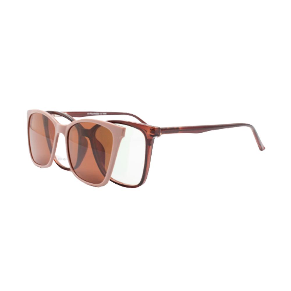 Armação para Óculos de Grau Feminino Clipon 2 em 1 OM12103-C2 Marrom