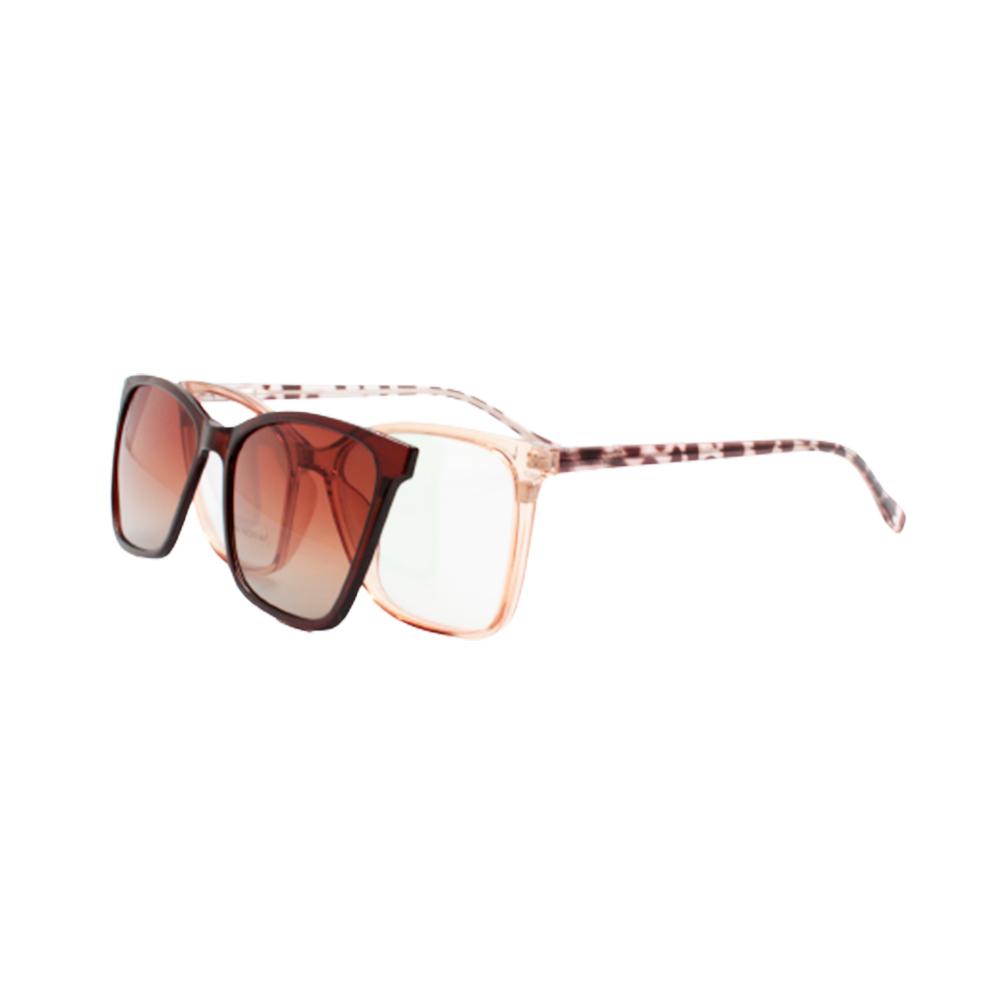 Armação para Óculos de Grau Feminino Clipon 2 em 1 OM12106-C2 Marrom